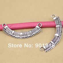 "10pcs/bag Link, antique silver-Color ""pewter"" beads,single-sided curved bar woven texture and loop F287(China)"