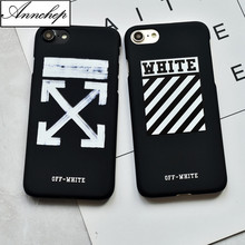 Luxury Simple Stripes off white black Hard Matte Case For iphone 6 6s Plus 5s SE Phone Cover For iphone 7 8 Plus X Funda Coque
