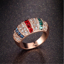 AAA Quality Fashion Rainbow Ring Rose Gold Color Full Pave Premium Zircon Crystals Finger Rings for Women Luxury Jewelry
