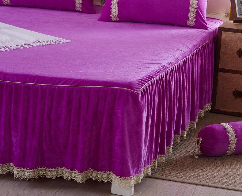 3Pcs Fleece Bed Skirt Set W/ Pillowcases, Mattress Protective Cover 55