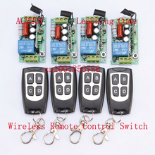 220V 1CH Wireless Power Switch System 4 Receiver&4Transmitter Remote Controller 10A output state is adjusted 1000W
