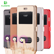FLOVEME Window View Flip Case For iPhone 6 6S 7 Plus 5 5S SE Case Luxury Leather Phone Cover For iPhone 6S 6 7 Shell Housing Bag(China)