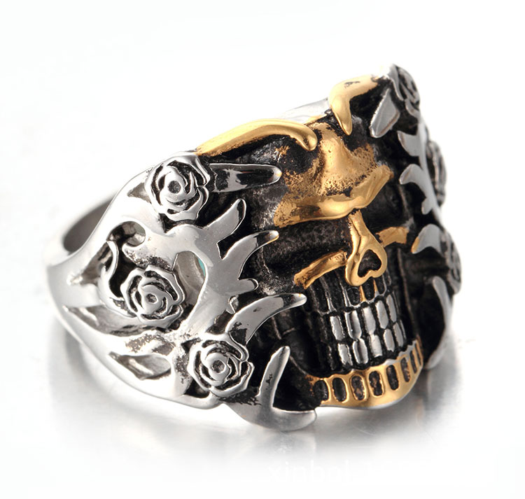 แหวนโคตรเท่ห์ Code 003 แหวนกะโหลกดอกไม้ Biker 2