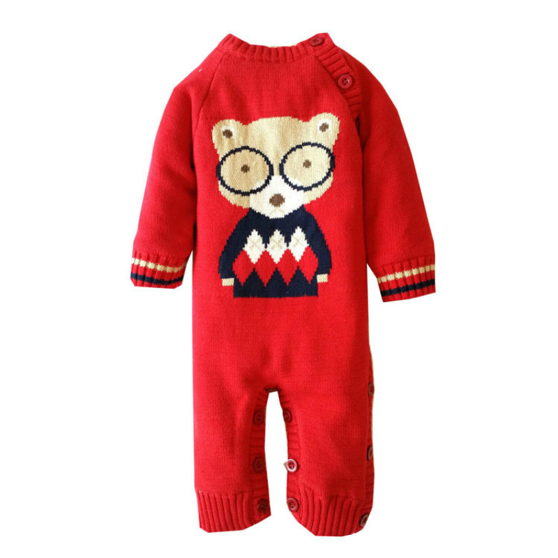 Christmas Baby Overalls Sweater Thick Warm Bodysuits 2017 New Autumn Winter Newborn Jumpsuit Baby Girl Boys Infant Clothes<br>