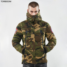 Men's Casual Parkas Camouflage Thick Warm Winter Jacket Men Military Hooded Padded Overcoat Embroidery Jaqueta Masculino Inverno(China)
