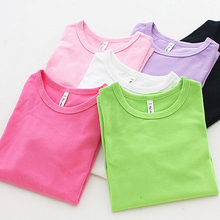 Children's Clothing Solid T-Shirts Girl Clothes O-neck Candy Color Fine Cotton T-Shirt 90 - 150 Boy Clothes Cheap Clothes China