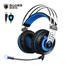 Sades A7 7.1 Surround Sound USB Gaming Headset Headphones computer Stereo Earphone with microphone Led light for PC Laptop Gamer(China)