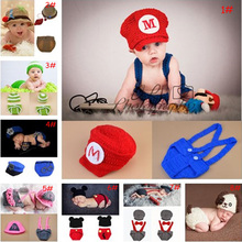 Latest Crochet Baby Photography Props Knitted Baby Boy Girl Coming Home Outfits Crochet Baby Cartoon Hats Newborn Costume 1set(China)