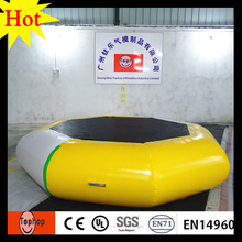 yellow white cheap inflatable water trampoline for sale used outdoor bed jumpimg sports 0.9mm PVC tarpaulin dia5m
