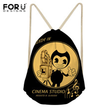 FORUDESIGNS Girls Boys Drawstring Bags Cartoon Children Backpacks Bendy Ink Machine School Backpack Women Carry Bags