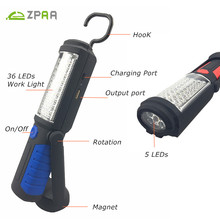 ZPAA Multifunction USB Rechargeable 36+5 LED Flashlight Outdoor Work Stand Light Magnet+HOOK+Mobile Power For Camping Outdoor(China)