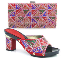 Popular red with hig heel African shoes with hand bag sets nice sandal with purse for wedding/party TH16-10 ,4 color