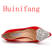 Silver Rhinestones Brand Women Wedding Shoes Thin High Heel Sexy Elegant Bridal Shoes Spring Autumn Pumps Size 34-43