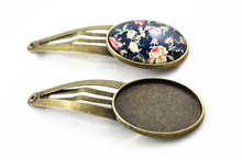 18x25mm 5pcs High Quality Bronze Plated Copper Material Hairpin Hair Clips Hairpin Base Setting Cabochon Cameo  J5-24