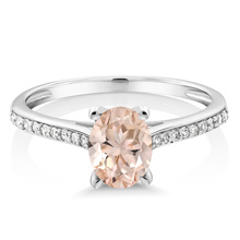 Natural 10K White Gold Diamond Accent Engagement Ring Oval Peach Morganite 1.10 ct 2017 Fashion Jewelry Wholesales