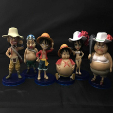 6pcs/set Figure One Piece Toys Luffy Usopp PVC Action Figure Collectible Model anime cartoon cute Kids new years gift toy T5954