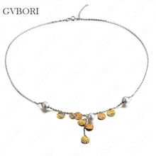 GVBORI Well-Chosen 7mm-7.5mm 18K Gold Natural Seawater Pearl Necklace Fine Jewelry Valentine Gift For Women Perfectly Round(China)