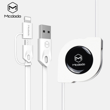 Mcdodo Lightning to USB Cable for iPhone 7 8 6 Micro USB Cable for Samsung Xiaomi 2 in 1 Retractable Fast Charging Data Cable(China)