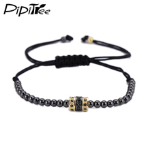 European American Weaving Bracelets For Men 2016 Trendy Gold Color 4mm Round Beads Braided Macrame Bracelet Men's Jewelry Gift(China)