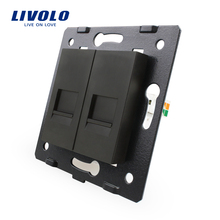 Manufacture Livolo,The Base Of  Socket /Outlet /Plug For DIY Product, 2 Gangs Computer Socket  VL-C7-2C-12
