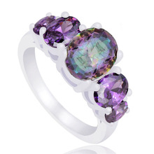SHUANGR Fashion Purple Finger Jewelry For Women  Silver Color Purple Cubic Zirconia Engagement Rings For Femme