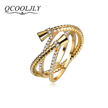 QCOOLJLY 2017 Female New Fashion Crystal Zircon Gold Rings Ladies Rhinestone Ring Anomaly Fancy Design Jewelery Best Friend Gift(China)