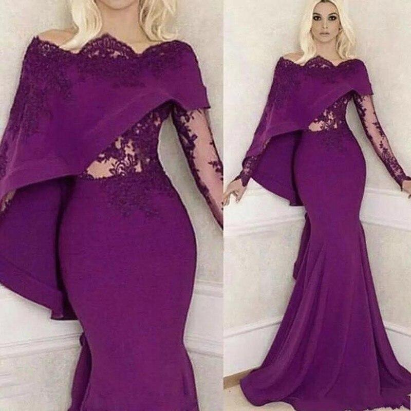 Saudi Arabian Formal Gowns Mermaid Long Evening Dresses Purple abendkleider  Full Sleeves Formal Gown Applques robe c0794a91fc28