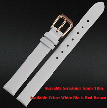 Watch band 6mm 8mm 10mm White Black Red Brown Genuine Leather Watch Band Mens or Womens Ladies Strap