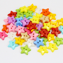 12mm Random mixed colors 2-holes Pentagram Button Star Buttons DIY handmade Sewing  accessories 50pcs/lot 004010044