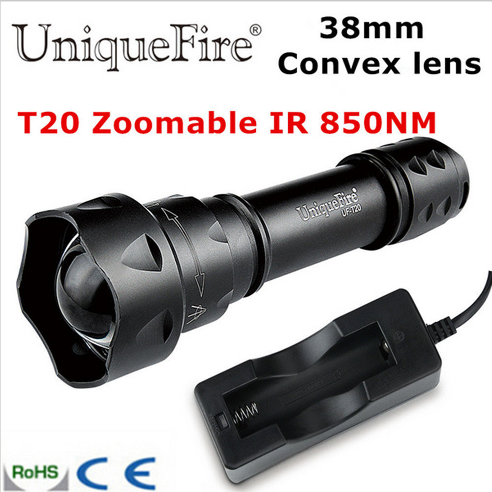 UniqueFire T20 LED IR 850NM 38mm Convex Lens LED Flashlight Torch Infrared Light Night Vision To Hunting Camping Flashlight<br>