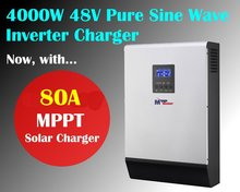 MPPT solar inverter 5kva 4000w 48v pure sine inverter with mppt solar charger 80A with 60A battery charger