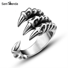 2017 New Arrival Men Dragon Claw Titanium Steel Fashion Ring Mens Stainless Steel Vintage Rings Anillos Fine Jewelry NP152