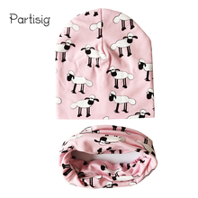 Baby Hats Animal Printing Cotton Baby Caps Children Hat Scarf 2pcs Set Caps For Baby Boy Brand Kids Winter Hat(China)