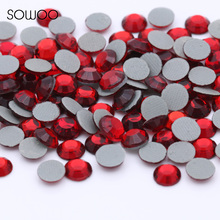 1440pcs/lot Eco-friendly lead free Lower 90PPM Hot Fix Rhinestone Round Shap Siam Color Iron on Rhinestone baby studs(China)