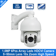 4'' Mini High speed  HD 720P CVI PTZ Dome Camera With OSD Meun 5-50mm 10x Zoom Outdoor Waterproof IR 70M Support CVR DVR
