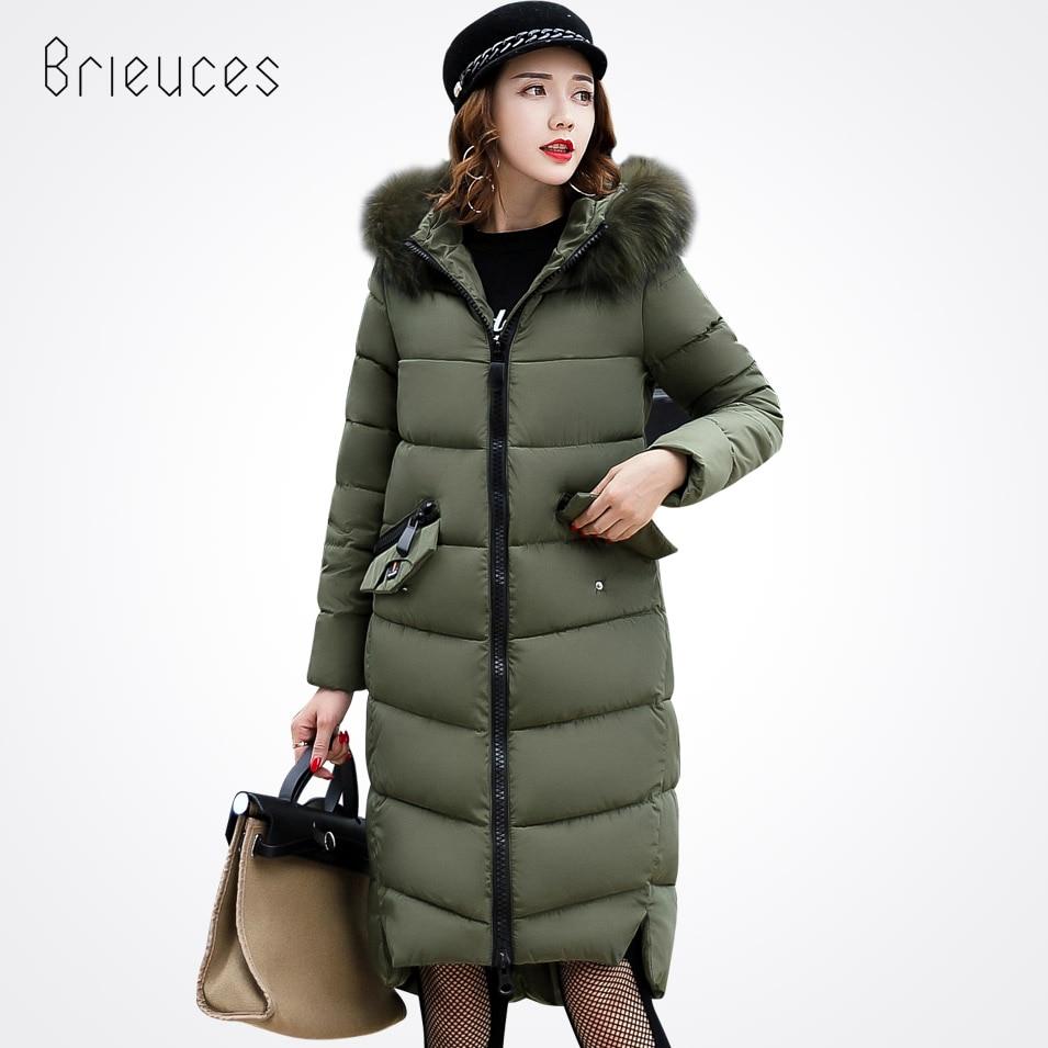 Brieuces 2017 Fashion winter jacket coat women Long thicken cotton-padded faux big fur collar warm female Ladys outwearÎäåæäà è àêñåññóàðû<br><br>
