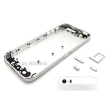 For iPhone 5 Silver&White Glass Chassis Cover Preassembled Mid Frame Bezel Back Housing Replacement With Logo Free Shipping
