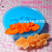 Free Shipping HYL009U Vintage Flower Rose Barrette Silicone Flexible Push Mold 53mm - Cell Phone Deco Charms Molds, Food Safe