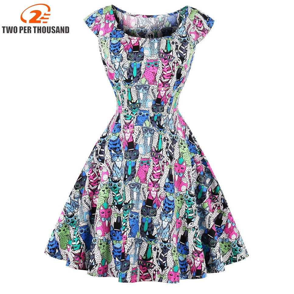 S-4XL Vintage Pin Cat Print Dress Women Square Collar Short Sleeve A-Line Midi Dresses 2018 Summer Robe Vestidos de festa