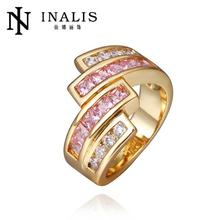 Wow!! Big Sale For New Store Hot Selling Golden/ Plated Micro Inlay Cubic Zirconia Wedding Rings R422(China)