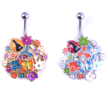 Epoxy Enamel Clay Flowers Crystal Bijou Body Piercing Navel Belly Button Rings Rasta Wholesale Vintage Jewelry Percing Wrench