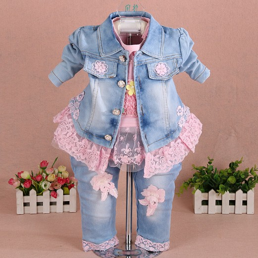 new 2016 autumn girls high quality denim jacket  sally patchwork flower t shirt clothing sets 3pc baby girl denim clothes sets<br>