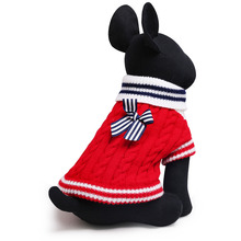 Navy Bow-knot Pets Dog Cat Sweater Pet Supplies Clothes Autumn Winter Knitwear(China)