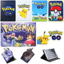 Cute Gift Cartoon Pikachu Pokeball Pokemon Go Leather Case Cover Stand for Toshiba Excite 7c AT7-B8 7-Inch 8 GB Tablet