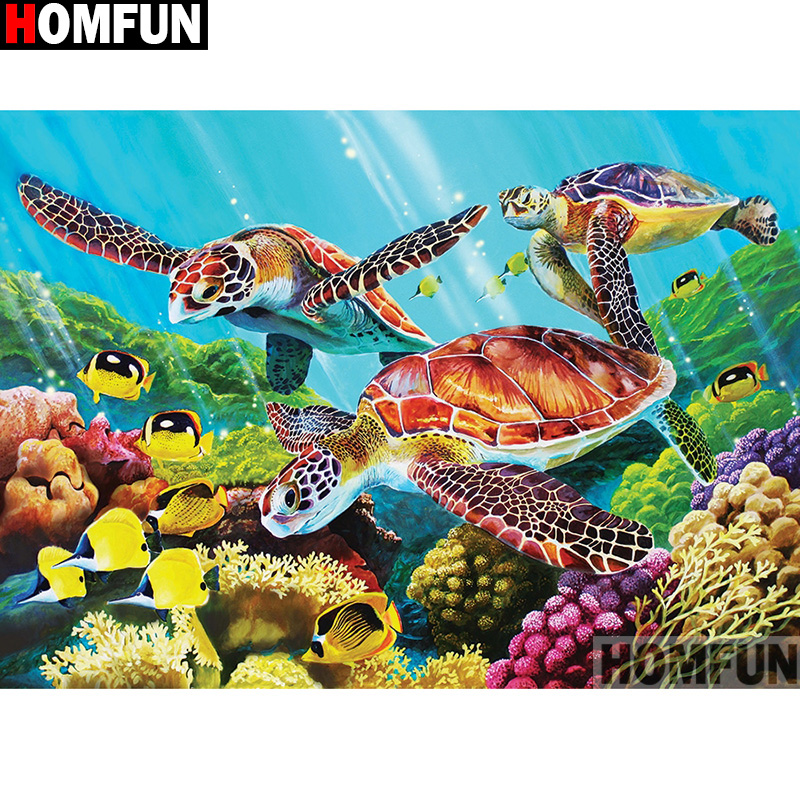 """Full Round Drill 5D DIY Diamond Painting /""""Turtle family/"""" 3D Embroidery Cros"""