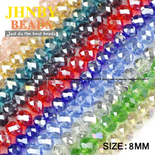 JHNBY Flat Round Shape Upscale Austrian crystal beads High quality 8mm 50pcs ball loose beads for jewelry making Accessories DIY()