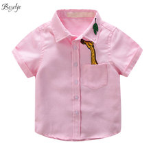 Summer Cotton Deer Boy Shirt for Boy Short Sleeves Casual Kids Shirts Boys Clothes Children's Shirts for Boys Dress Shirts