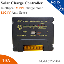 10A 12/24V AUTO work MPPT solar charge controller,multi function,compensation circuit, with USB 5V output for lead acid battery(China)