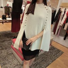 Top New Blusa Sleeve Tassels Hem Loose Pullover Blouse Irregularity Cloak Poncho Cape Tops Knitting Sweater Coat Shawl