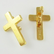 100pcs of Gold Tone Religious Christian Booches Cross Lapel Pin(China)